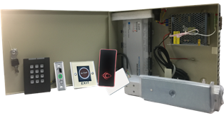 Two Door Access Controller System Kit with Power Supply, Metal Box, Readers, Exit Buttons and MAG Locks