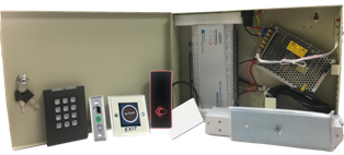 Four Door Access Controller System Kit with Power Supply, Metal Box, Readers, Exit Buttons and MAG Locks