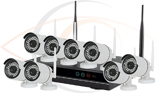 Complete CCTV HD 8 Port Wireless Surveillance System w/ Eight Wireless 2MP Cameras