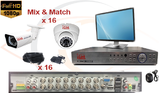 CCTV HD Security Camera System 5 in 1 1080p Standalone 16 Port DVR with 1080p HD Coax Cameras, Cables, HDD and Monitor