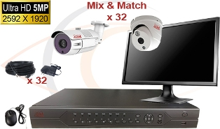Complete CCTV HD Security Camera System 5 -in-1 5MP Standalone 32 Port H.264 DVR w/ 5MP HD Coax Cameras, Cables, HDD & Monitor