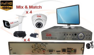 CCTV HD Security Camera System 5 in 1 1080p Standalone 4 Port DVR with 1080p HD Coax Cameras, Cables, HDD and Monitor
