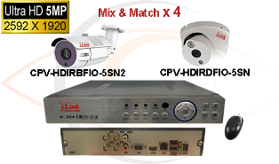 CCTV HD Security Camera System 5-in-1 5MP Standalone 4 Port DVR w/ 5MP HD Coax Cameras