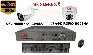 CCTV HD Security Camera System 5 in 1 1080p Standalone 8 Port DVR with 1080p HD Coax Cameras
