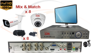 CCTV HD Security Camera System 5 in 1 1080p Standalone 8 Port DVR with 1080p HD Coax Cameras, Cables, HDD and Monitor