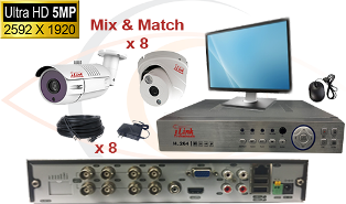 CCTV HD Security Camera System 5 in 1 5MP Standalone 8 Port DVR w/ 5MP HD Coax Cameras, Cables, HDD and Monitor