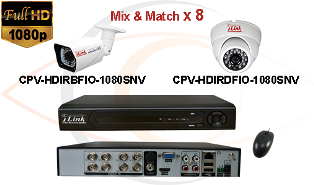 CCTV HD Security Camera System Tribrid 1080p Standalone 8 Port DVR with 1080p HD Coax Cameras