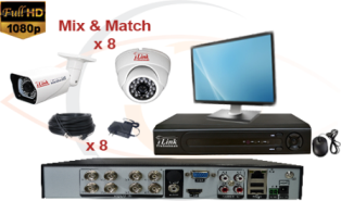 CCTV HD Security Camera System Tribrid 1080p Standalone 4 Port DVR with 1080p HD Coax Cameras, Cables, HDD and Monitor